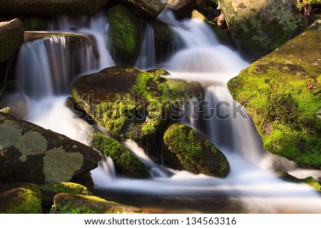 Water falls over a jumble of moss-covered boulders in Great Smoky Mountains National Park, Tennessee, USA.