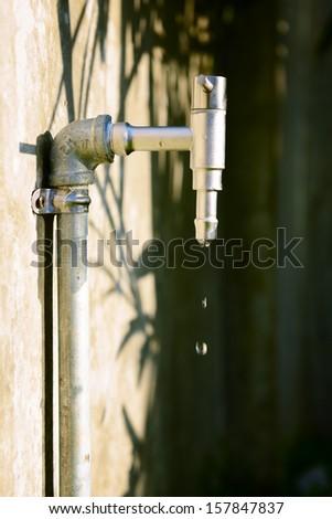 Water faucet in the garden