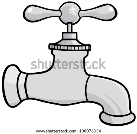 Water Faucet. Raster Illustration.Vector version also available in portfolio.