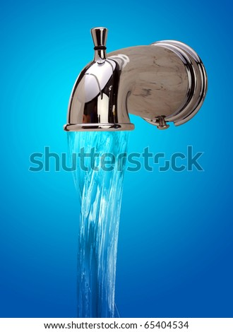 Water faucet with running water.