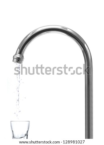 Water faucets isolated against a white background