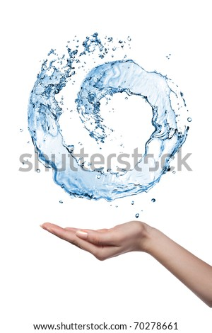 Water figure with human hand isolated on white