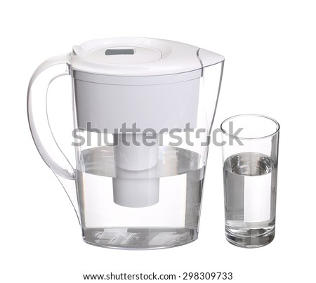 water filter jug with glass of clean water isolated on white background