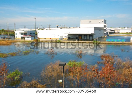 water flood in industrial estate