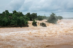 Water flood on river after heavy rain in Pakse, Southen Laos