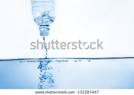 Water flow from bottle and forming bubble. Fresh healthy background