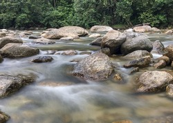 Water flowing between rock at Kuala Woh Perak Malaysia