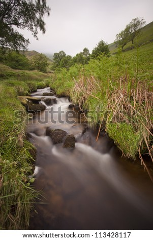 water flowing down a stream in the english countryside