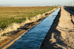 water flowing in an irrigation canal in Arizona