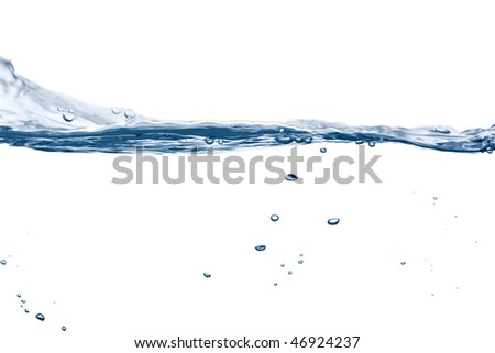 water flowing in gentle waves, some bubbles floating around, isolated on white background