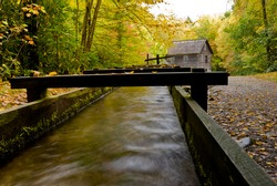 Water flowing in water mill aqueduct at Mingus Mill in Smoky Mountains National Park