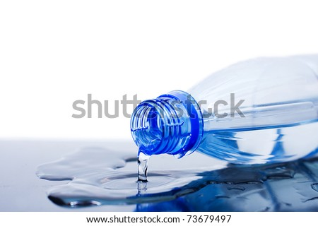 Water flows from a bottle
