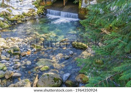 Water flows out of a culvert near Denny Creek in Washington State. Zdjęcia stock ©