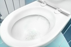 Water flushes the toilet. The flow of water is clearly visible.