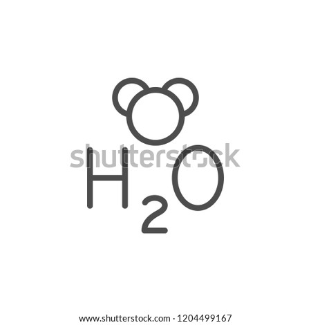Water formula line icon isolated on white