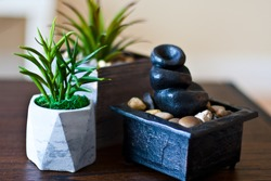 Water fountain and plant pot as table decoration.