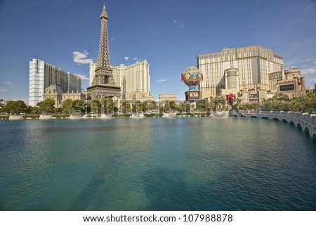 Water fountain at Bellagio Casino with Paris Casino and Eiffel Tower in Las Vegas, Nevada