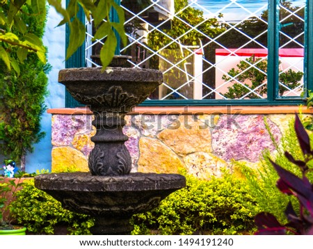 Water fountain in front yard and front window