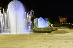 Water fountains in the center of Pleven Bulgaria in the night