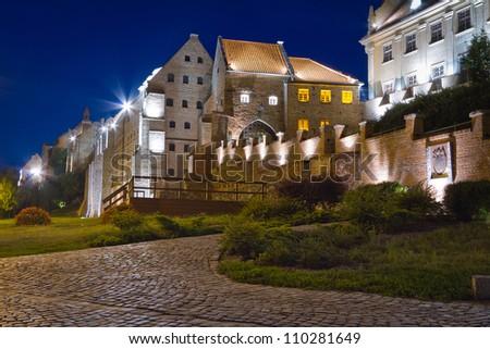 Water gate in Grudziadz city at night,  Poland