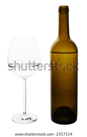 Water glass and bottle isolated on white background