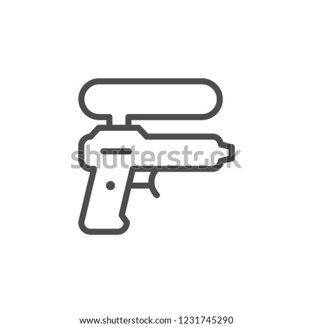 Water gun line icon isolated on white