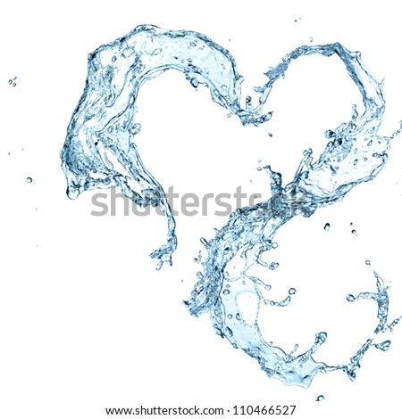 Water heart over white background - stock photo