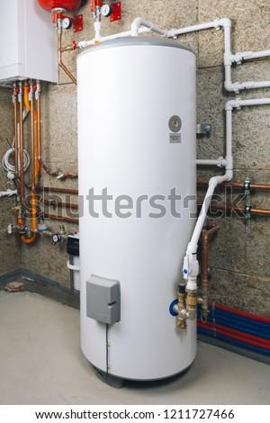 water heater in modern boiler room