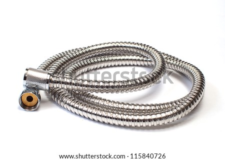 Water hose isolated on white background,chrome plated shower pipe