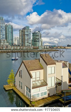Water-house in downtown of Vancouver, Canada.