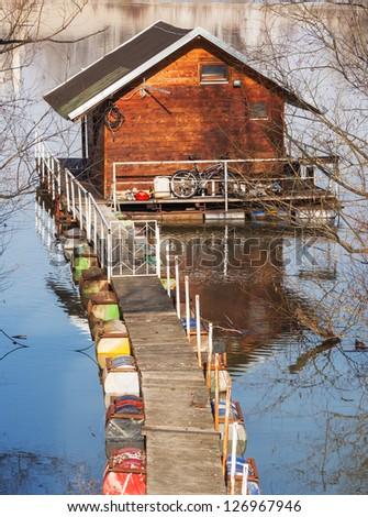 water house in river Sava, Belgrade, Serbia