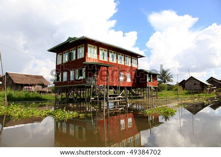 Water House with beautiful reflection at Inle Lake, Myanmar!