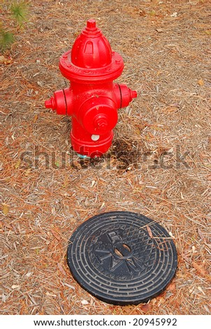 water hydrant and manhole