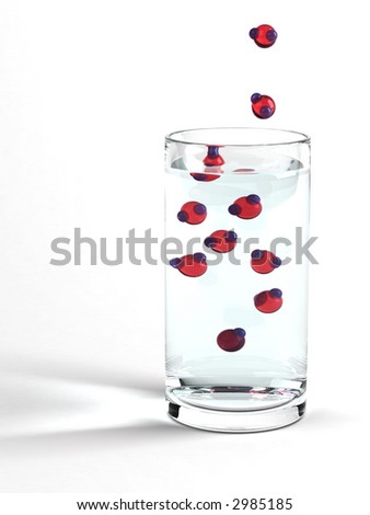 Water in a glass with oversized H2O molecules. Photorealistic 3D Rendering with advanced refractions, reflections and caustics.