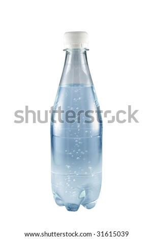 water in bottle isolated on white background