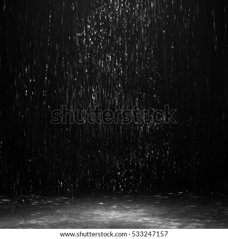water in the dark, rain at night in the street, night rain