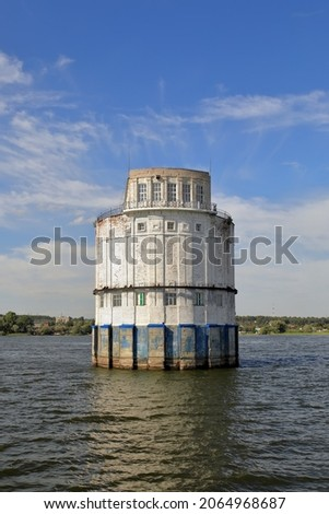 Water intake building combined with pumping station built in 1937 on the Volga river. Architecture of Soviet Union. City of Kazan, Republic of Tatarstan, Russia.