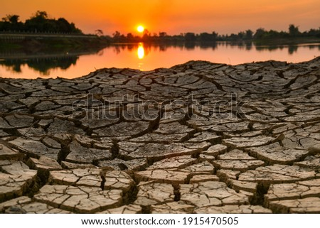 Water is life. Arid season Water is life. Dry season. Background drought water shortage.Cracked land without water Photo stock ©