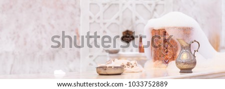 Water jar, towel and copper bowl with soap foam in turkish hamam. Traditional interior details. Horizontal, wide screen format, banner format #1033752889
