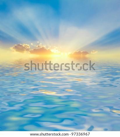 Water Landscape Beautiful Halo - stock photo