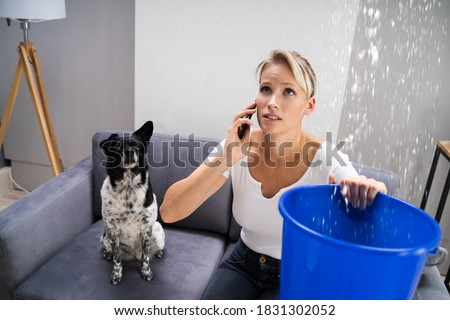 Water Leak Or Ceiling Flood At Home. Leakage Problem Foto stock ©