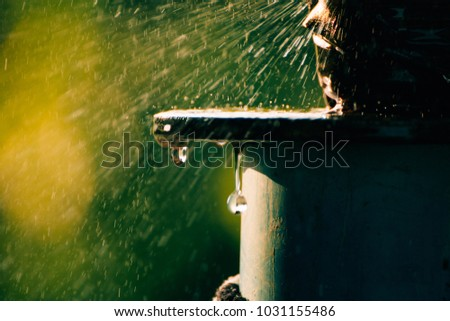 Water Leak With green background #1031155486