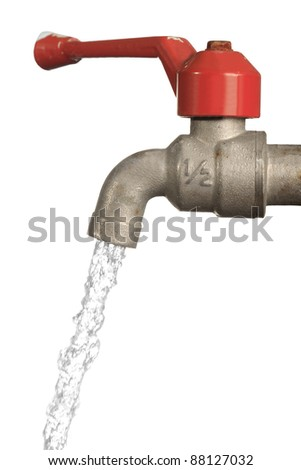 Water leaking from old metal tap isolated on white background