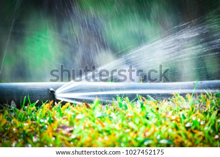 water leaking.leak form rubber tube or hole in a hose in the garden. #1027452175