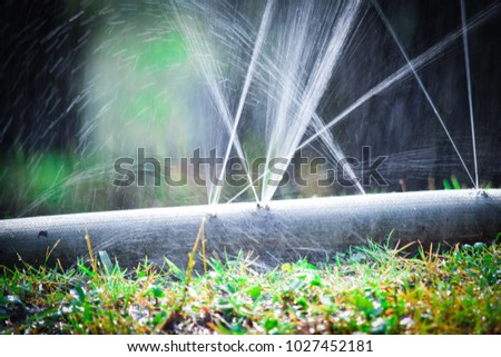 water leaking.leak form rubber tube or hole in a hose in the garden. #1027452181