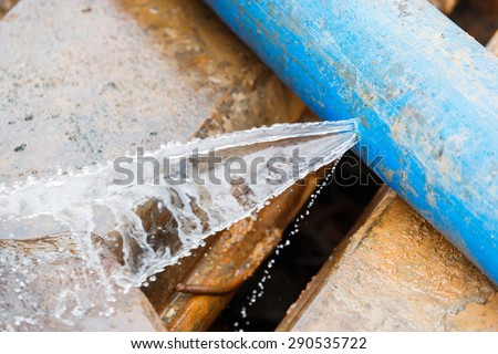 Water leaking on pvc discharge hose in construction site