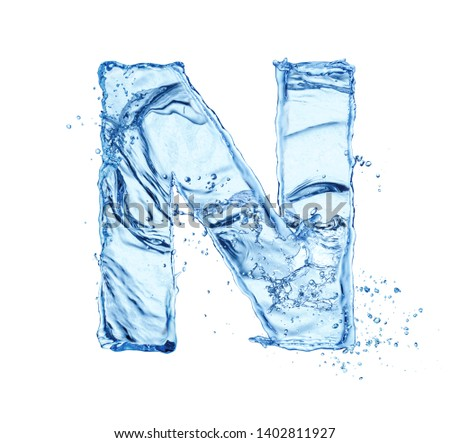 water letter N isolated on white background Foto stock ©