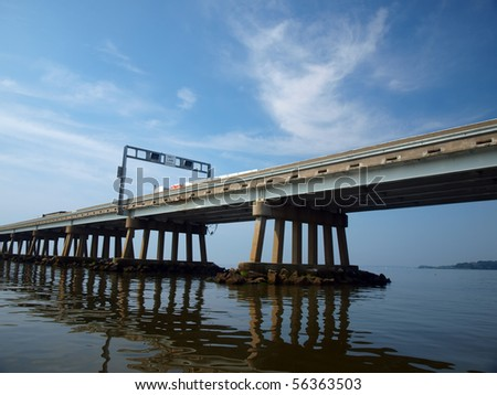 water level view of a section of the Chesapeake Bay Bridge of Maryland