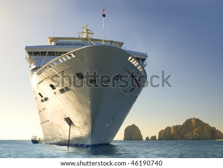 Water level view of cruise ship. Cabo San Lucas. Mexico