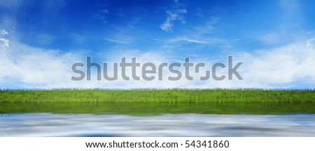 Water level with fresh grass and blue sky